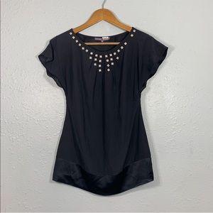 HALE BOB Black Silk Embellished Top Size XS